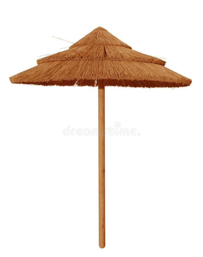 Geïsoleerde de paraplu van het bamboestrand stock afbeeldingen