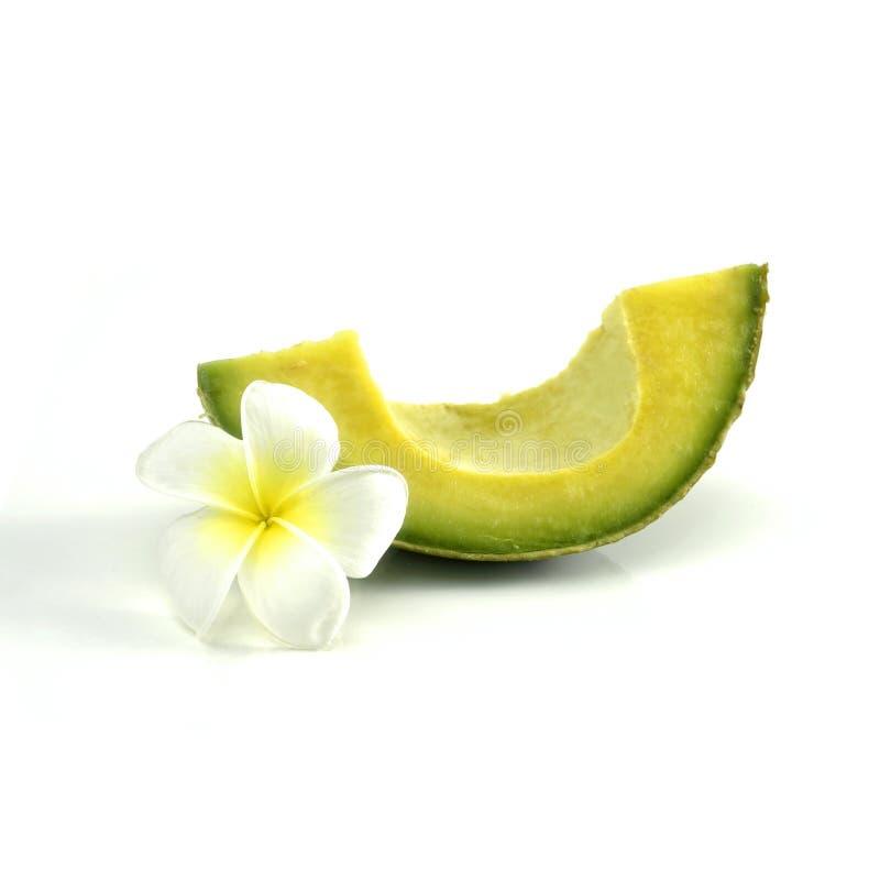 Geïsoleerde de plak van de avocado royalty-vrije stock afbeeldingen