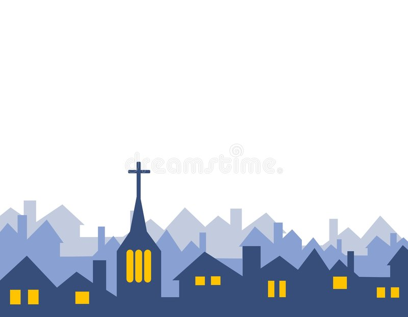 Geïsoleerde de Silhouetten van de kerk en van het Huis royalty-vrije illustratie
