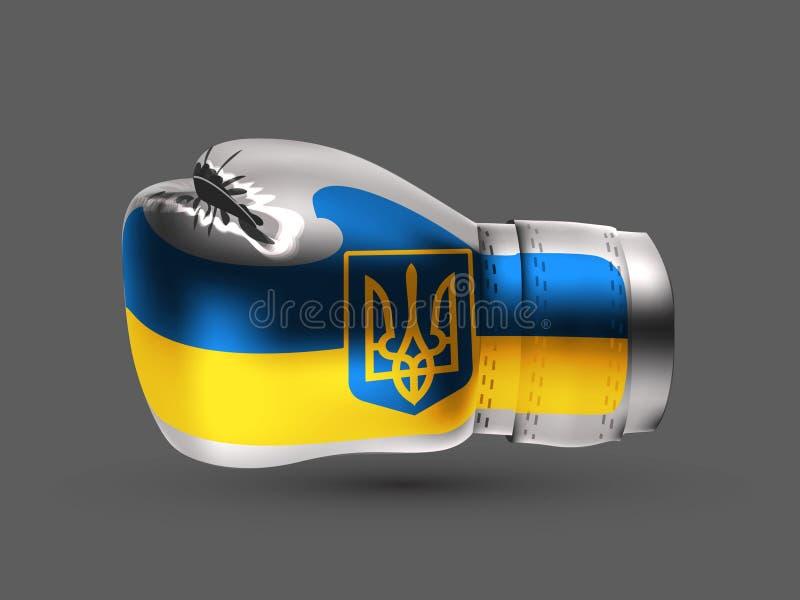 Geïsoleerde de vlag realistische 3d van de bokshandschoenoekraïne stock illustratie