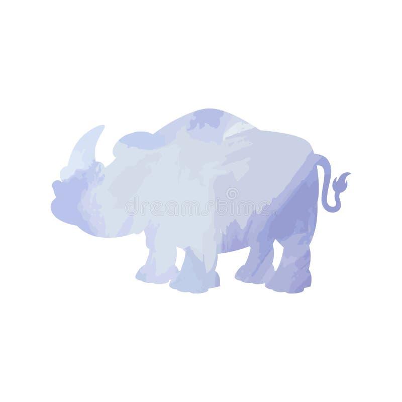 Geïsoleerde de waterverf van de rinoceroskunst Vector vector illustratie