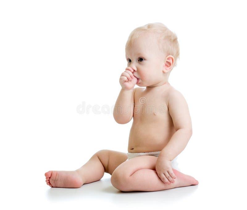 Geïsoleerde de zuigelingsduim van de babyjongen royalty-vrije stock afbeelding