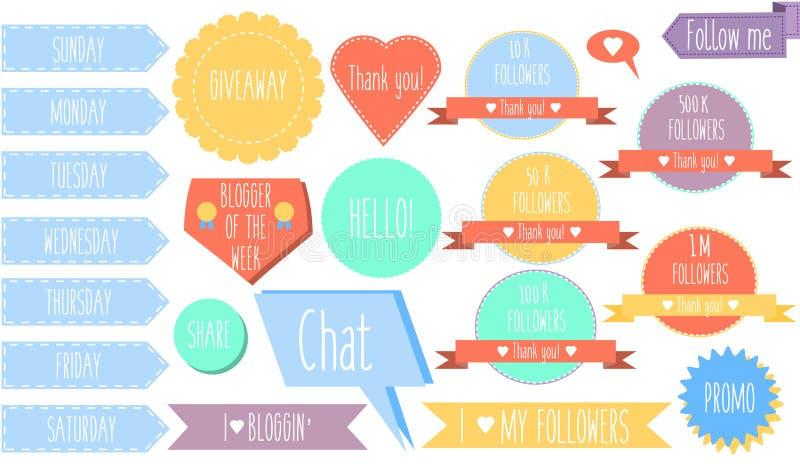 Geïsoleerde decoratieve ontwerpelementen, stickers, banners en etiketten voor sociale media en bloggen vector illustratie