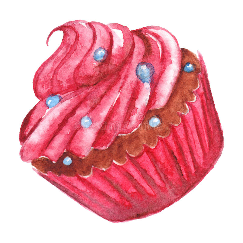 Geïsoleerde dessert van waterverf het heerlijke zoete roze cupcake stock illustratie