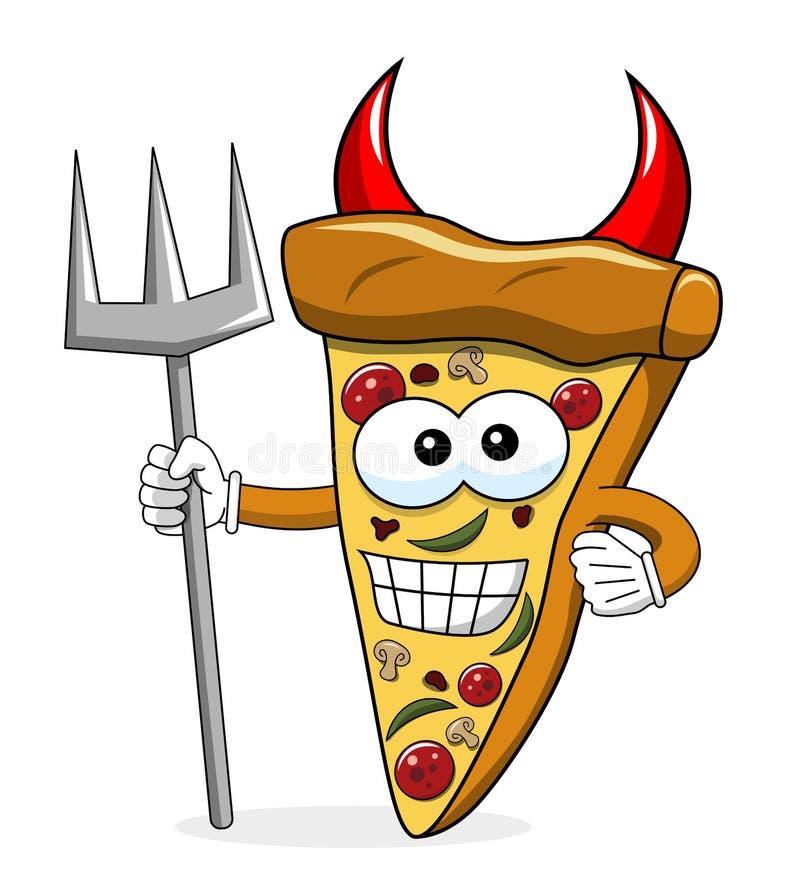 Geïsoleerde drietand van de het beeldverhaal de grappige duivel van de pizzaplak stock illustratie