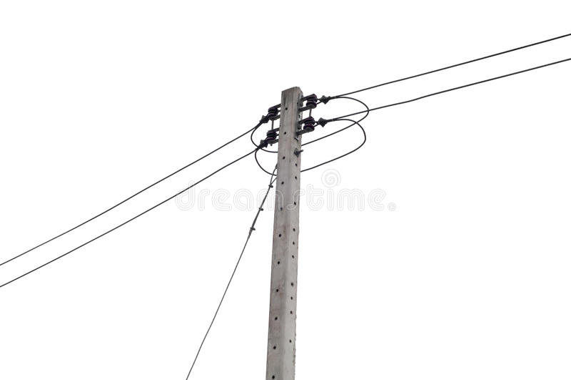 Geïsoleerde elektriciteitspost stock afbeelding