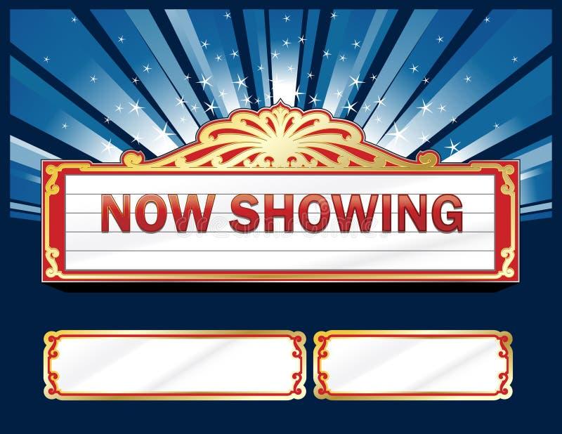 Geïsoleerde Filmmarkttent met secundaire paneelontwerpen stock illustratie