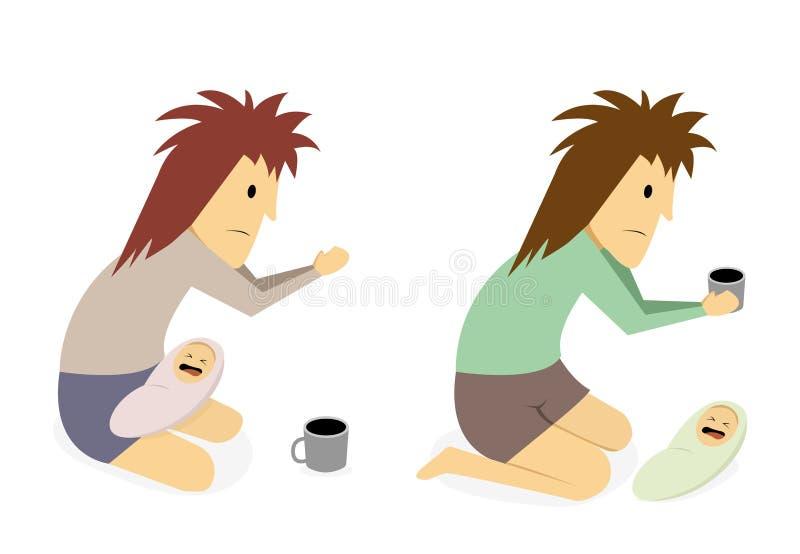 Geïsoleerde gehandicapte bedelaar met baby op wit, art. vector illustratie