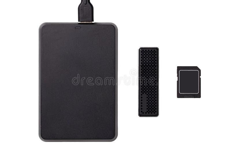 Geïsoleerde geheugenhardware Close-up van een USB-station, USB-Stok en een geheugenkaart op een witte achtergrond wordt geïsoleer stock afbeelding