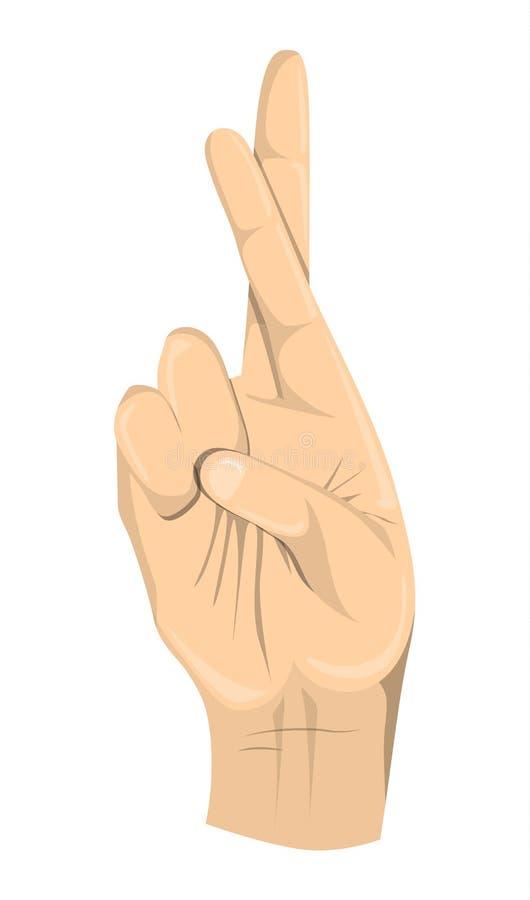 Geïsoleerde gekruiste vingers vector illustratie