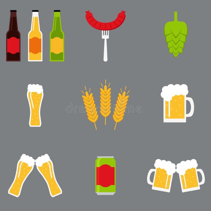 Geïsoleerde geplaatste bierpictogrammen De inzameling van bierpictogrammen royalty-vrije stock foto