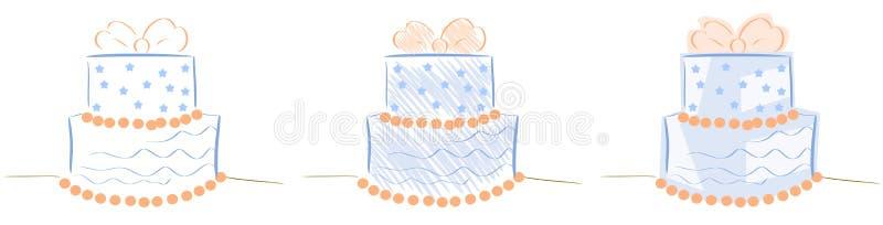 Geïsoleerde Gestileerde cake met lint en sterren stock illustratie