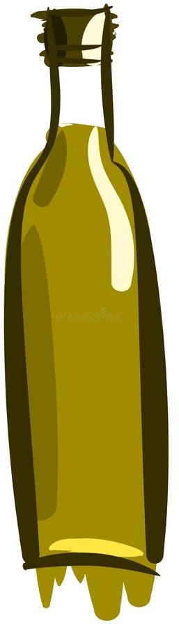 Geïsoleerde gestileerde fles olijfolie royalty-vrije illustratie
