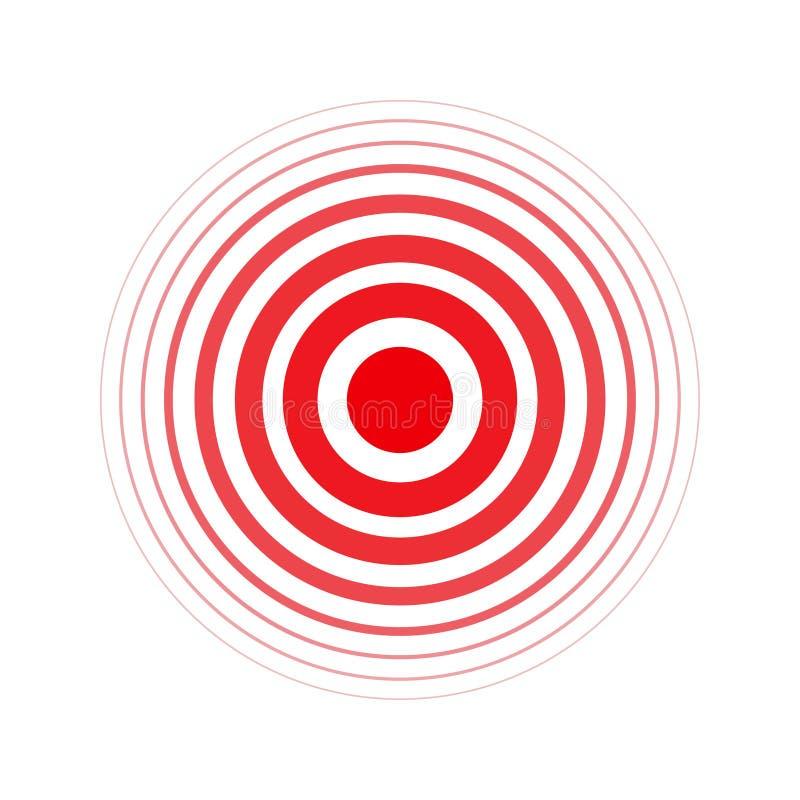Geïsoleerde gewaagde vector rode ring Pijncirkel Symbool van pijn Voor uw medisch ontwerp royalty-vrije illustratie