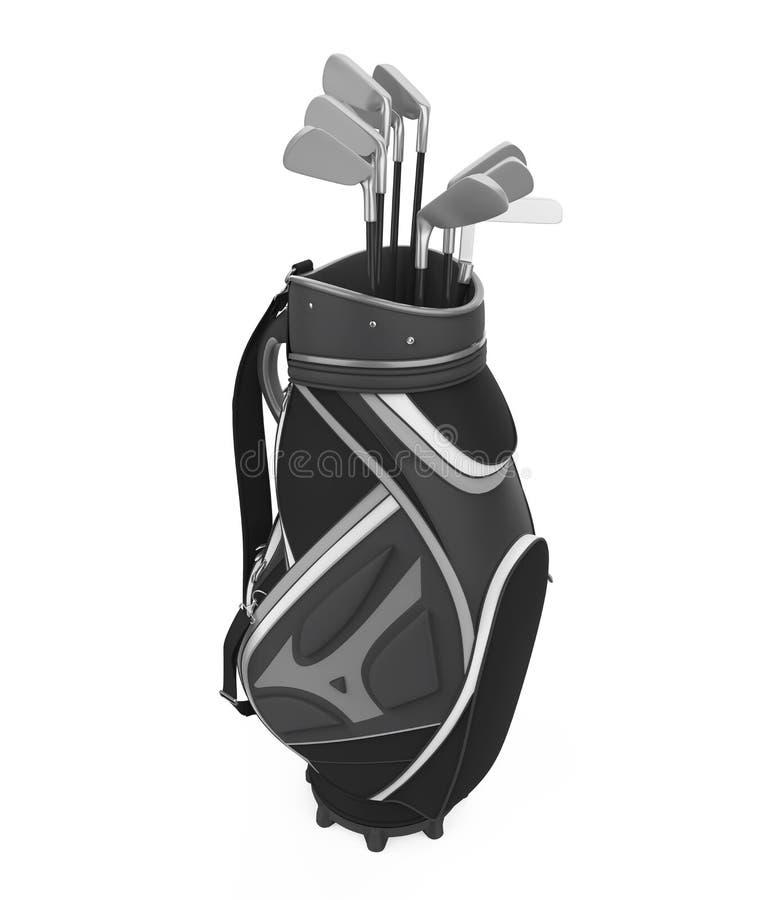 Geïsoleerde golfclubzak royalty-vrije illustratie