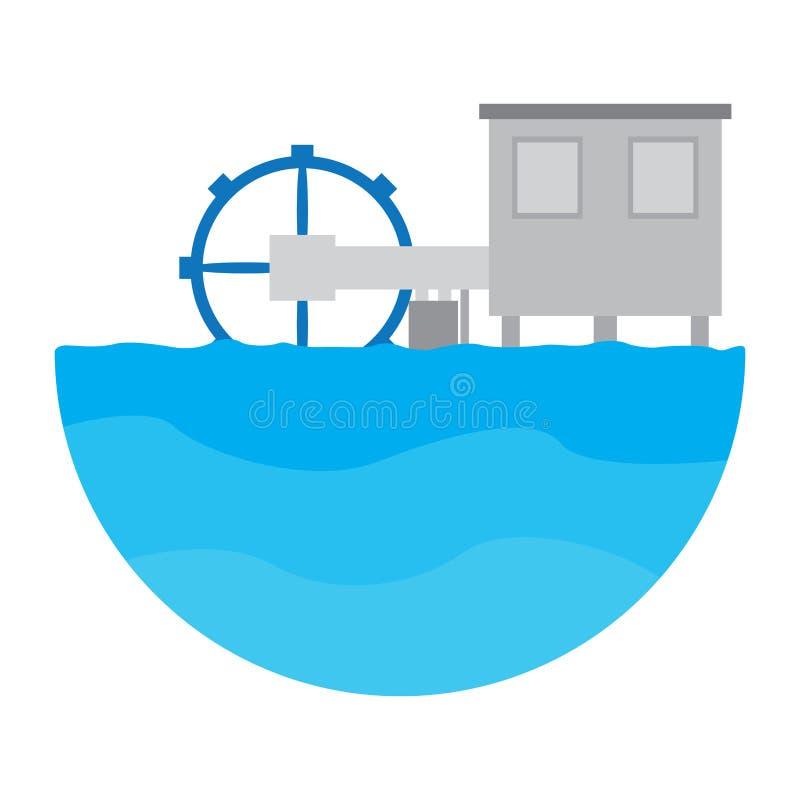 Geïsoleerde golfelektrische centrale Het conceptuele beeld van de energie stock illustratie