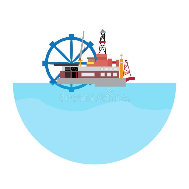 Geïsoleerde golfelektrische centrale Het conceptuele beeld van de energie royalty-vrije illustratie