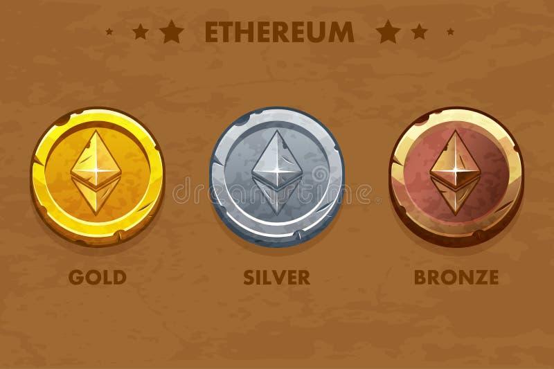 Geïsoleerde Goud, zilver en bronsethereum oude muntstukken Digitale of Virtuele cryptocurrency muntstuk en elektronisch contant g royalty-vrije illustratie