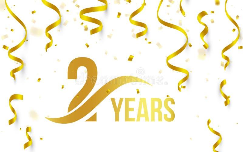 Geïsoleerde gouden kleur nummer 2 met het pictogram van woordjaren op witte achtergrond met dalende gouden confettien en linten,  royalty-vrije illustratie