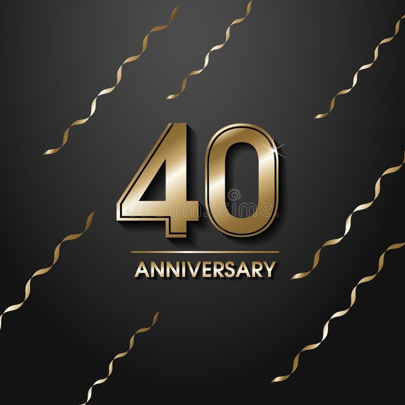 Geïsoleerde gouden kleur nummer 40 met het pictogram van woordjaren op zwarte achtergrond met dalende gouden confettien en linten royalty-vrije illustratie