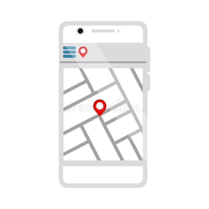 Geïsoleerde gps mobiele toepassing vector illustratie