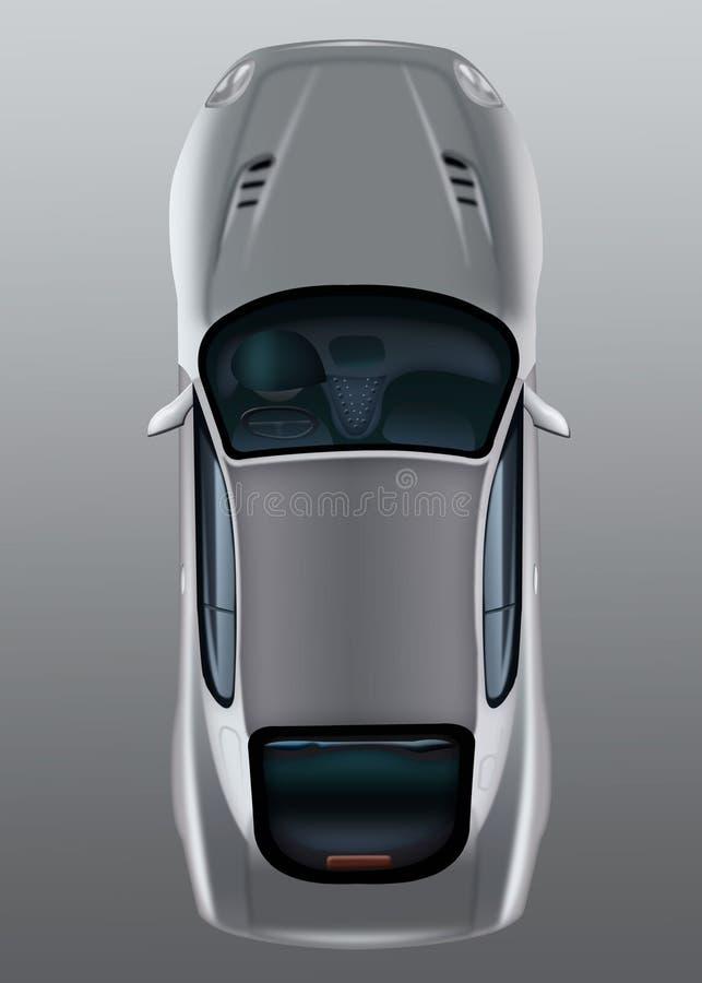 Geïsoleerde grijze auto op een hoogste mening als achtergrond Personenautolichaam c royalty-vrije illustratie
