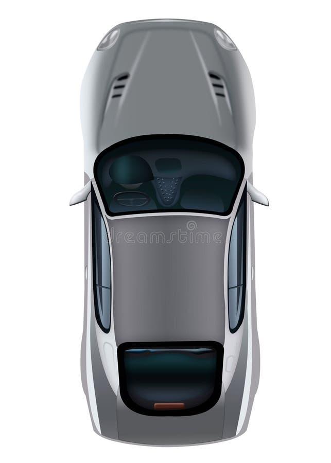 Geïsoleerde grijze auto op witte hoogste mening als achtergrond Personenauto BO stock illustratie