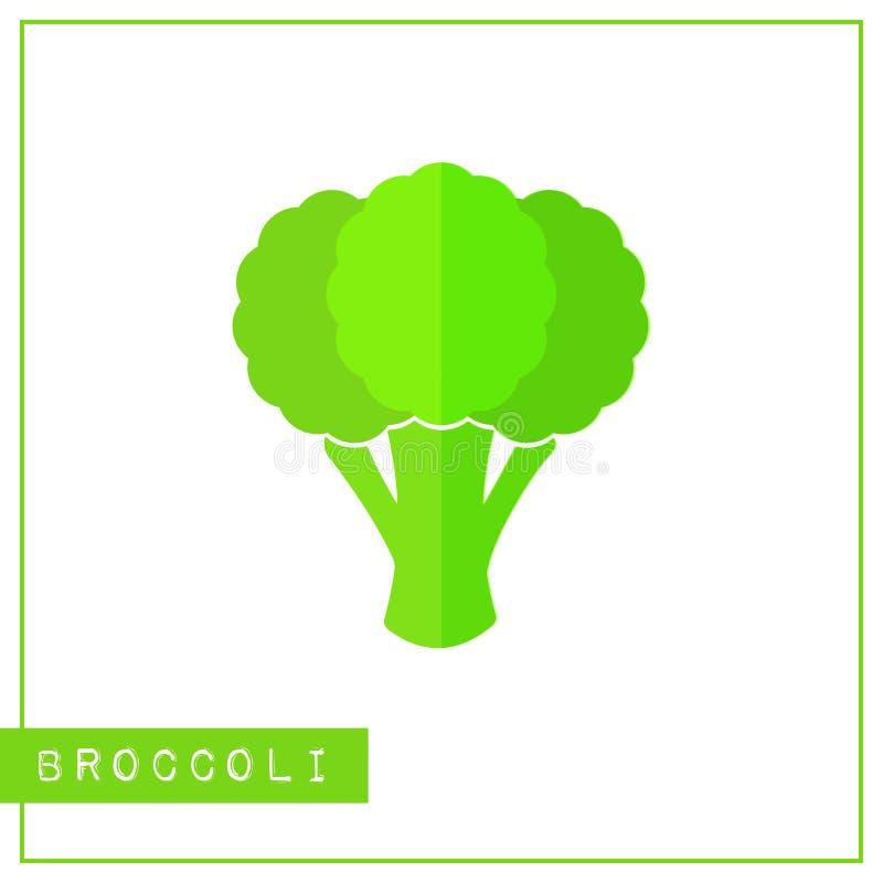 Geïsoleerde groene broccoligeheugen opleidingskaart stock illustratie