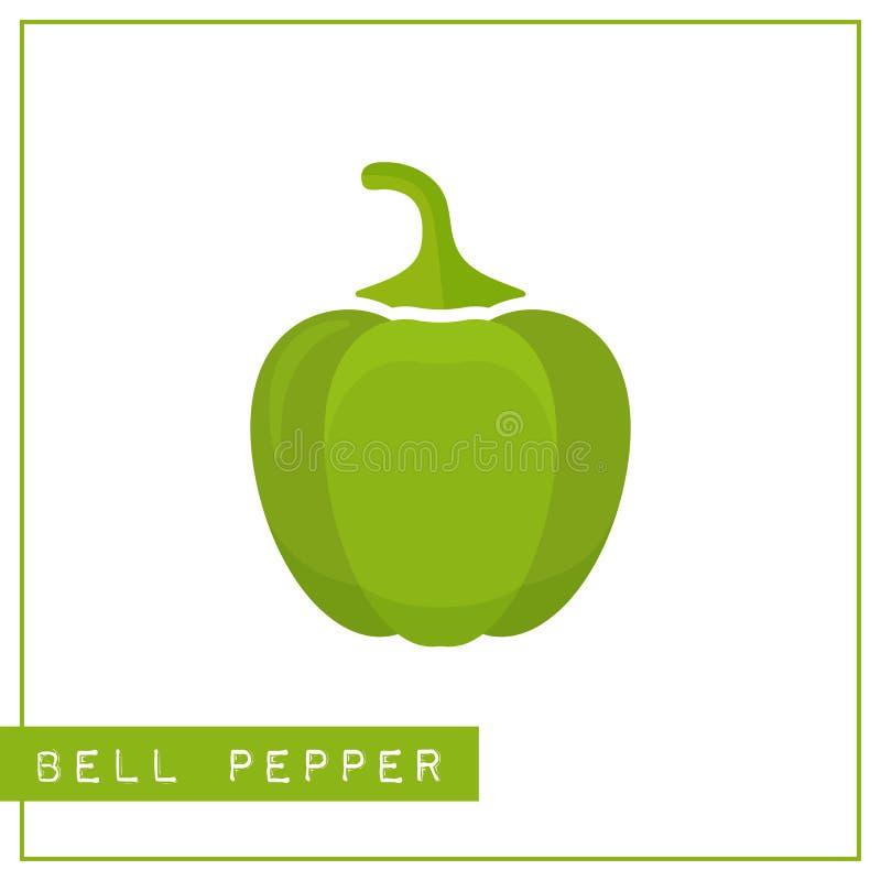 Geïsoleerde groene groene paprikageheugen opleidingskaart royalty-vrije illustratie
