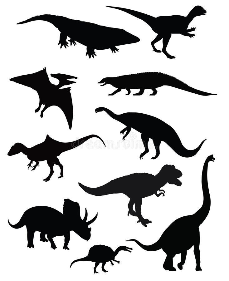 Geïsoleerde groep van tien dinosaurussen stock illustratie