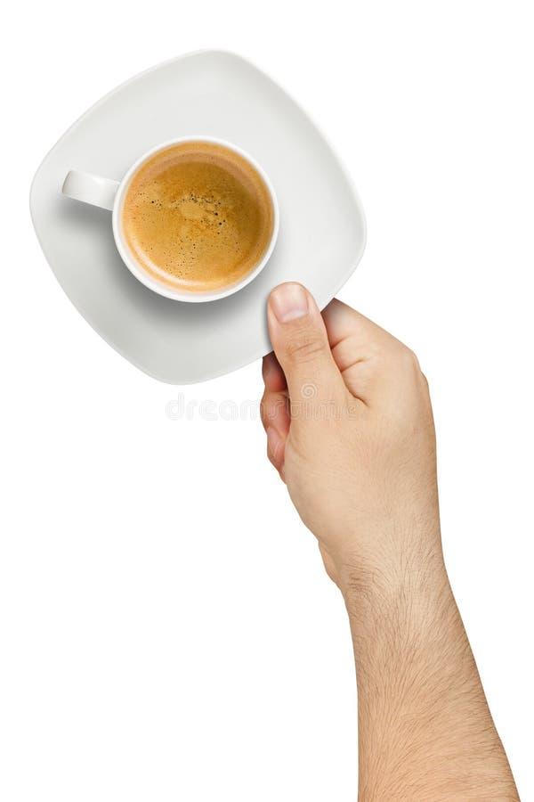 Geïsoleerde hand Dienende Koffie royalty-vrije stock afbeelding