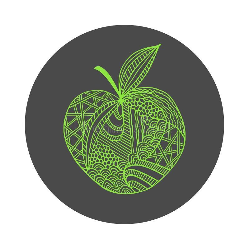 Geïsoleerde hand getrokken groene overzichtsappel op zwarte ronde achtergrond Ornament van krommelijnen vector illustratie