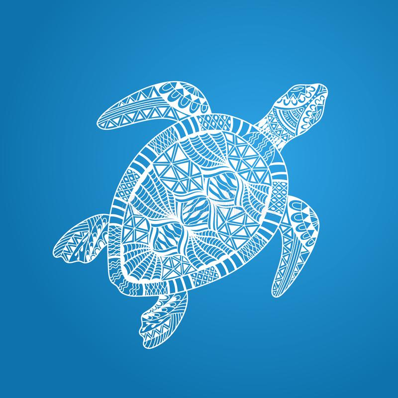 Ge?soleerde hand getrokken witte overzichts abstracte overladen mariene schildpad op blauwe achtergrond Ornament van krommelijnen royalty-vrije illustratie