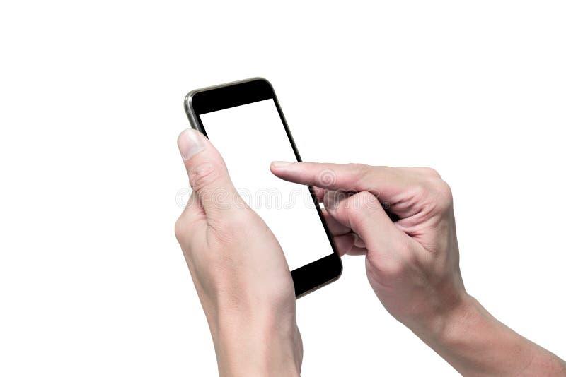 Geïsoleerde handen die smartphone gebruiken royalty-vrije stock foto's