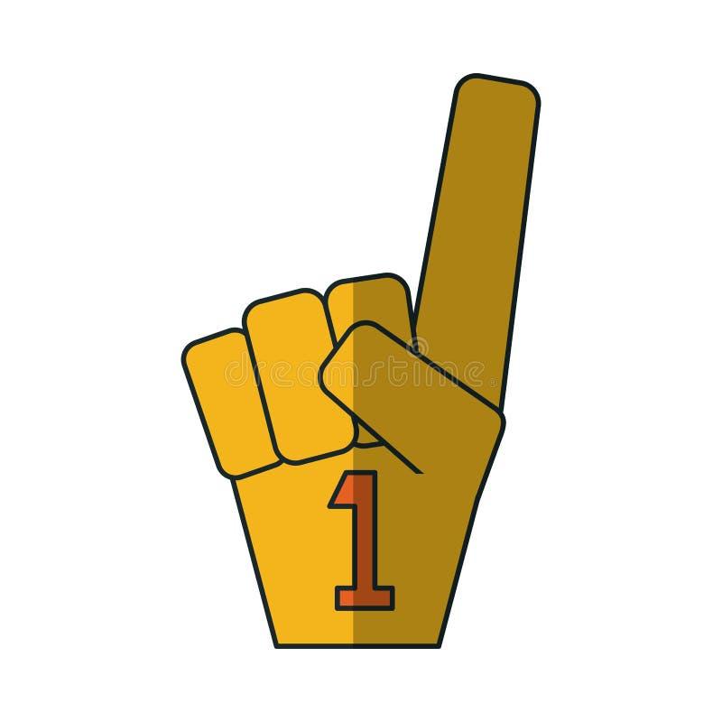 Geïsoleerde handschoen en nummer één gebaar royalty-vrije illustratie