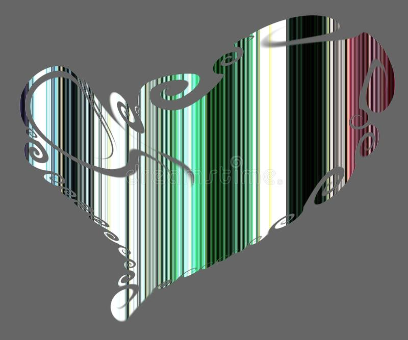 Geïsoleerde hart en lijnen in groene, roze en violette tinten vector illustratie