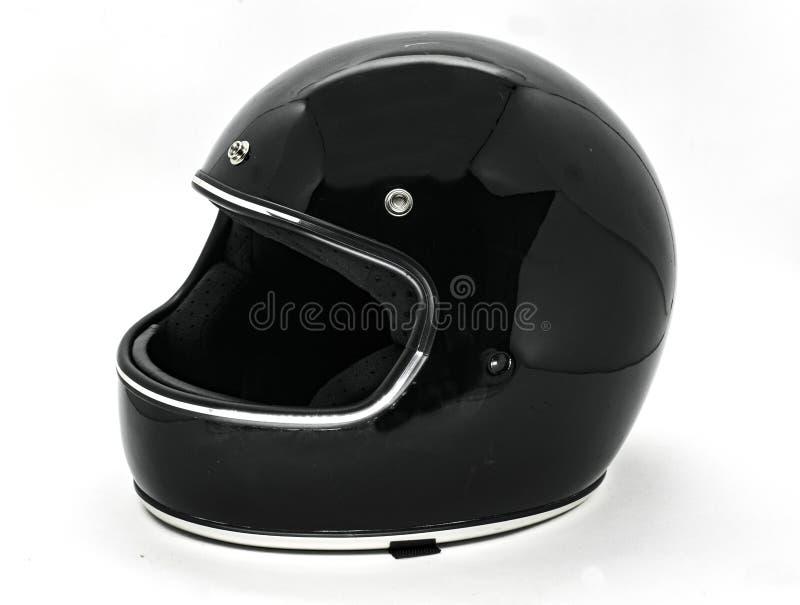 Geïsoleerde helm van de veiligheids de klassieke motorfiets stock fotografie