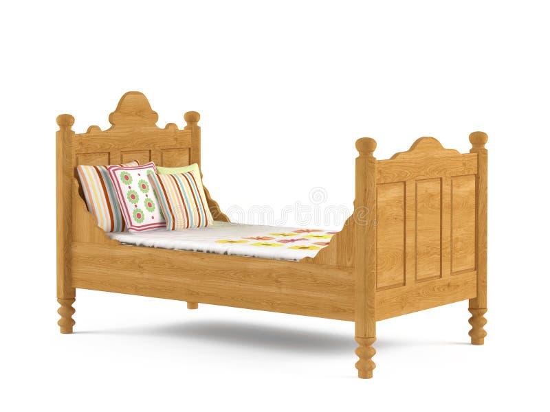 Geïsoleerde het bed van het jonge geitjeskind stock afbeelding