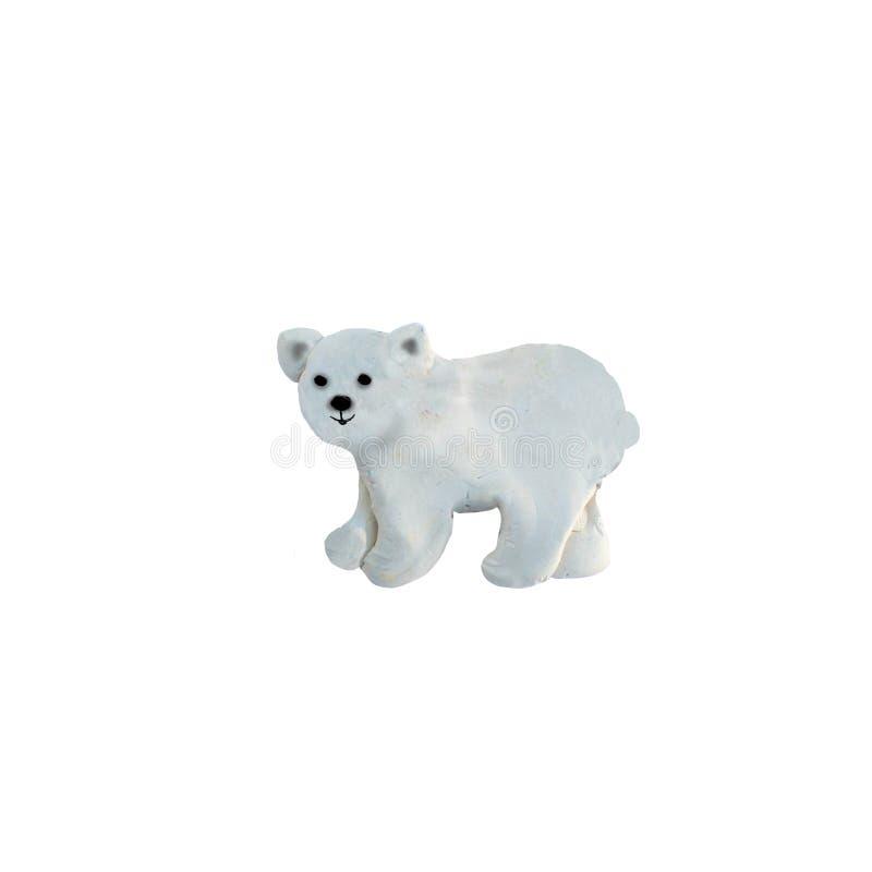 Geïsoleerde het beeldhouwwerk van de plasticine ijsbeer royalty-vrije stock foto