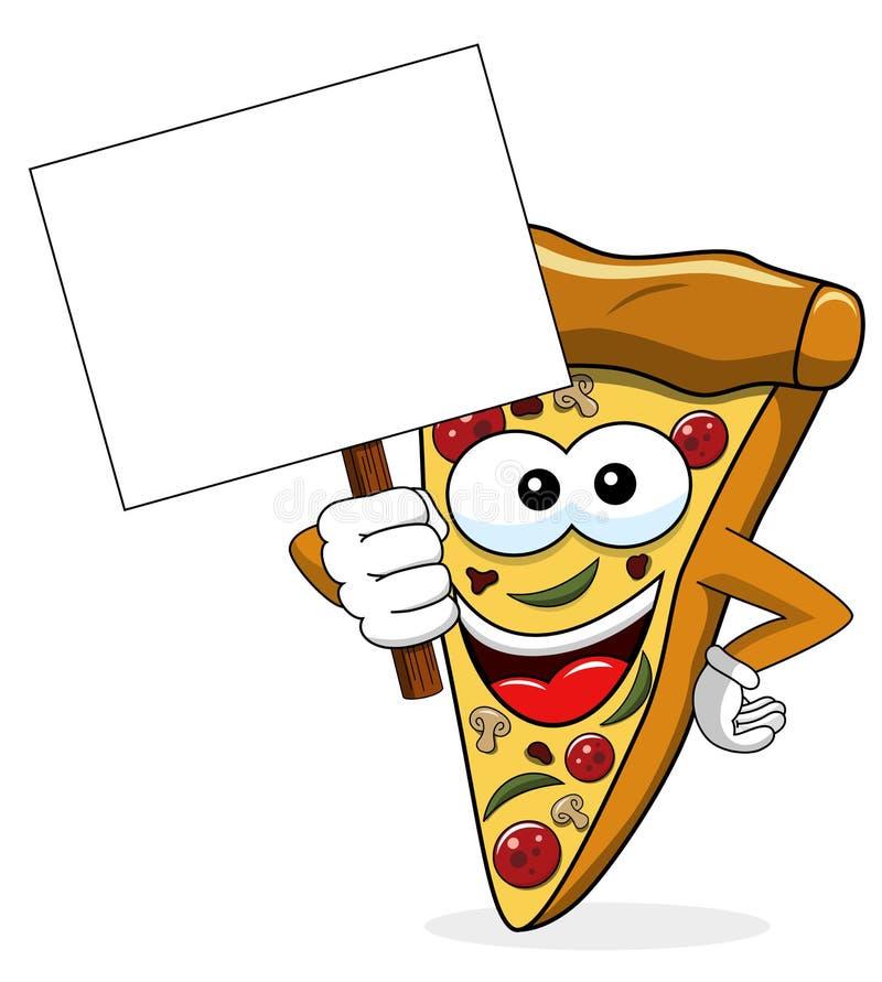 Geïsoleerde het beeldverhaal grappige banner van de pizzaplak copyspace royalty-vrije illustratie