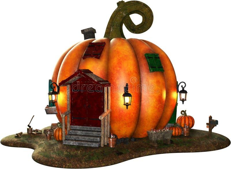Geïsoleerde het Huis van Halloween Pumpin stock illustratie