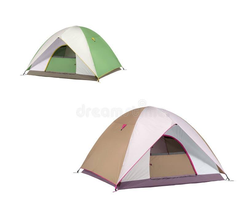 Geïsoleerde het kamperen tenten stock foto's