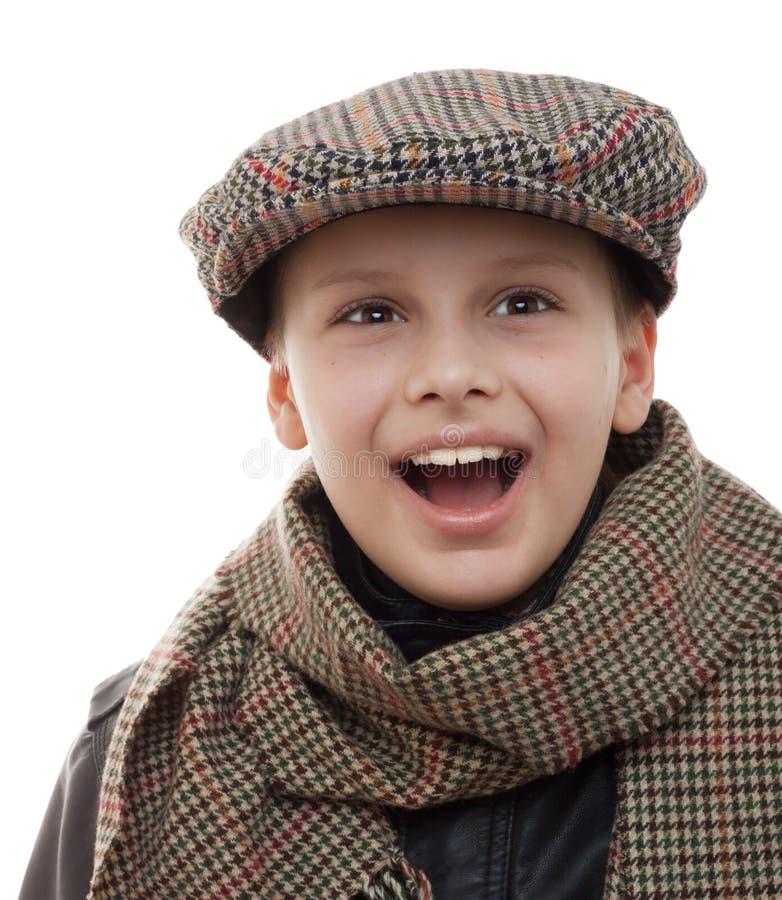 Geïsoleerde het portret van de sjaalglb toebehoren van de jong geitjepret royalty-vrije stock afbeelding