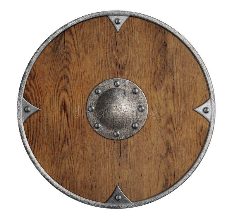Geïsoleerde het schild van oude houten Vikingen stock foto's