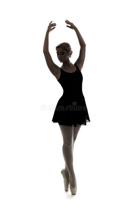 Geïsoleerde het silhouet van het dansersmeisje royalty-vrije stock afbeeldingen