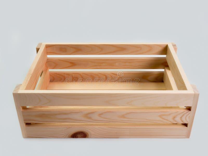 Geïsoleerde houten doos stock afbeelding