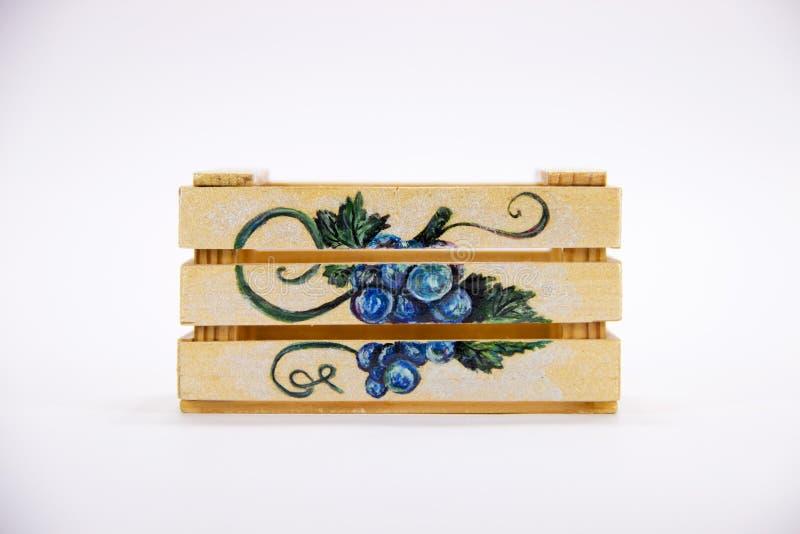 Geïsoleerde houten doos handmade royalty-vrije stock afbeelding