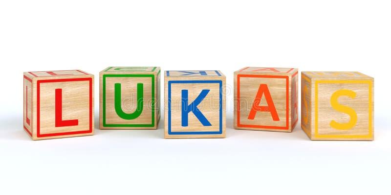 Geïsoleerde houten stuk speelgoed kubussen met brieven met naamlukas royalty-vrije illustratie