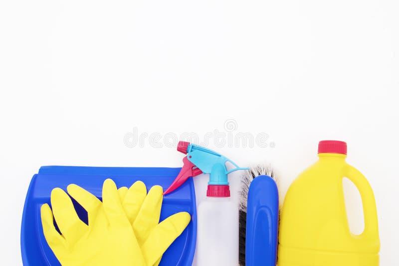 Geïsoleerde huishouden schoonmakende producten royalty-vrije stock afbeelding