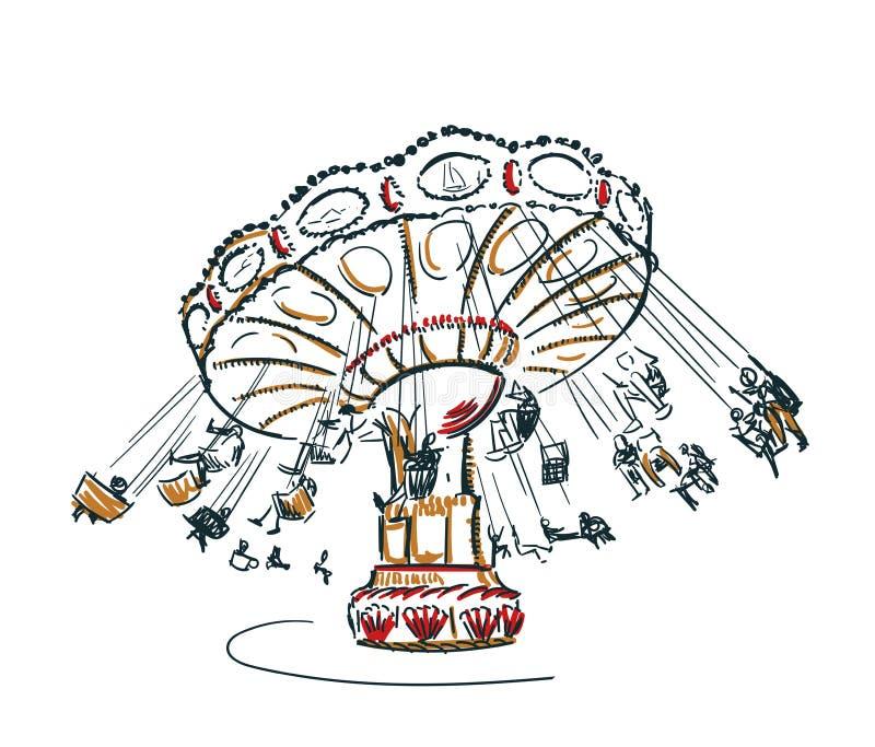 Geïsoleerde illustratie van de carrousel de vectorschets illustratie stock illustratie